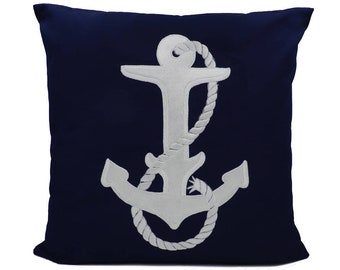 "New Fabric - Anchor - Nautical Embroidered Pillow Cover - Fits 18""x18"" Insert - Navy - Beach / Coastal / Nursery Decor (READY TO SHIP)"