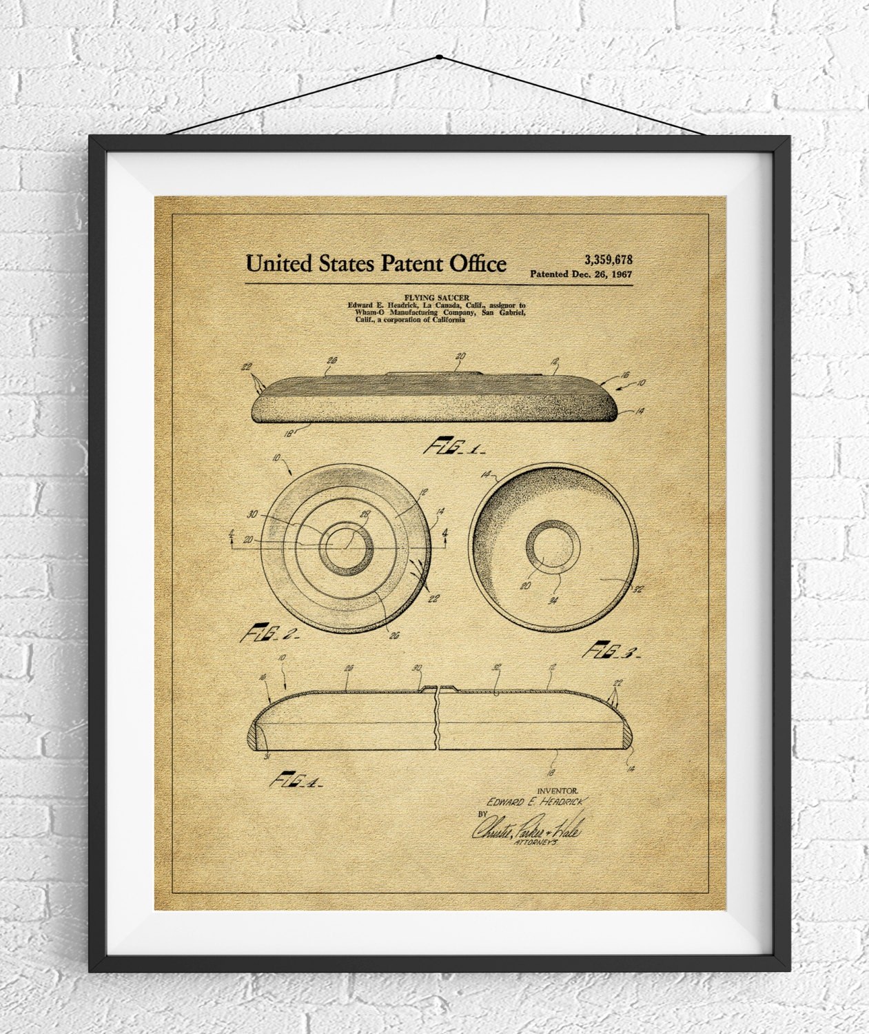 Enchanting blueprint wall art photo the wall art decorations frisbee patent print flying disc patent game room art game art malvernweather Image collections