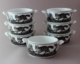 Vintage soup bowls, Villeroy and Boch Anjou, 7 pieces