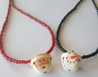 Your choice Santa or snowman bell seed bead necklace - seed bead necklace - Christmas bell necklace - Christmas necklace - bell necklace