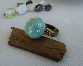 """Ring round domed globe with blue microballs """"caviar"""""""