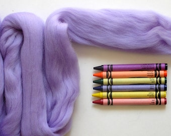 MERINO WOOL ROVING / Iris Purple 1 ounce / merino roving for nuno felting, doll hair, trolls, infant photography, basket filler, needle felt
