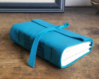 Chunky Leather Journal, Turquoise Hand-Bound 3 x 4.5 Journal by The Orange Windmill on Etsy 1829
