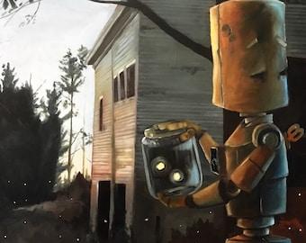 Barn Bot robot painting print