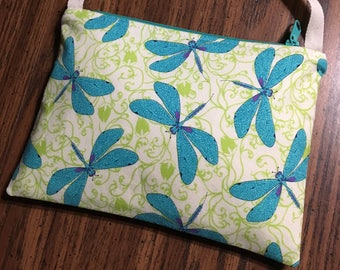 Dragonfly purse: small zipper-top purse with crossbody strap