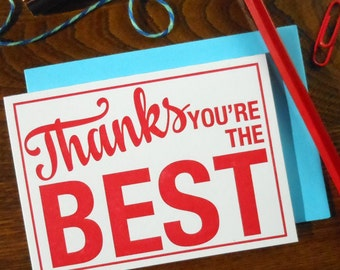 letterpress thanks you're the best sign greeting cards pack of 6 red on white with blue envelope