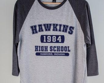 Hawkins High   Grey Baseball Tee / Jersey