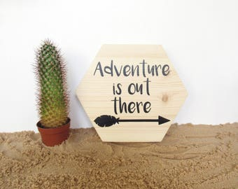 Wooden Adventure quote plaque - wooden plaque - modern nursery decor - Scandinavian decor