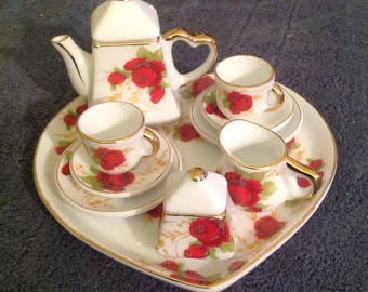 Tiny Tea Set, Miniature Tea Set, Doll Tea Set, Heart Tea Set, Doll Tea Parties, Red Rose Tea Set, Little Girls Room