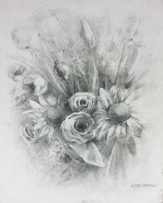 art culos similares a handmade flower drawing bouquet on paper pencil art one of a kind. Black Bedroom Furniture Sets. Home Design Ideas