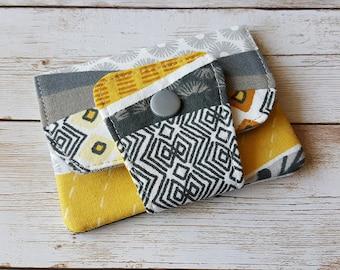Card wallet | card holder | travel wallet | loyalty card keeper | minimalist wallet | credit card case | floral print ochre