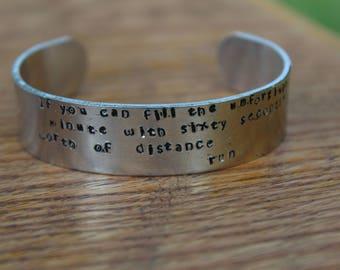 If - Rudyard Kipling metal stamped 5/8 inch cuff bracelet - literary quote jewelry
