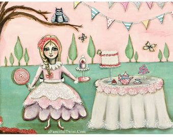 Tea Party in the Magical Cypress Grove - 5 Postcard set