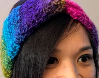 Multi-Colored Ear Warmer / Headband / Head Wrap with Twist