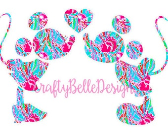 Mickey & Minnie Mouse Decal | Disney Decal | Mickey Mouse Decal | Minnie Mouse Decal | Lilly Pulitzer Inspired Disney Decal | Car Decal