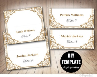 Wedding Placecards in Gold,DIY Gold Place cards,Instant Download,Gold Wedding,Elegant PlaceCards,Gold Wedding,Antique Gold,Vintage Wedding