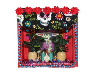 Mexican Catrina, Wooden Nicho, Mexican Nicho, Day of the Dead, La Catrina Picture, Mexican Holiday Decor, Sugar Skulls, Mexican Fabric