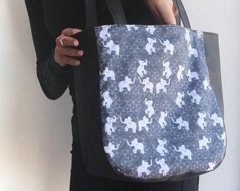 Tote Bag - Women Tote /  black Tote Bag With Elephants print - Vegan Handbag /black Handbag - vegan leather tote bag
