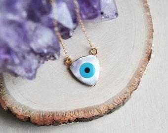 Evil Eye Necklace, Blue Evil Eye Necklace, Gold Evil Eye Necklace, Evil Eye Jewelry, Triangle Necklace, Protection Necklace, Talisman, Boho