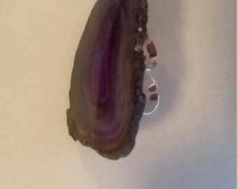purple agate two finger ring