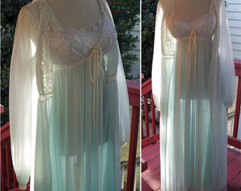 POWDER Blue 1960's 70's Vintage Pale Sheer Blue + White Lace Sleepwear Set w/ Gown + Robe // by SLEEPING Pretty // size Small Med 36