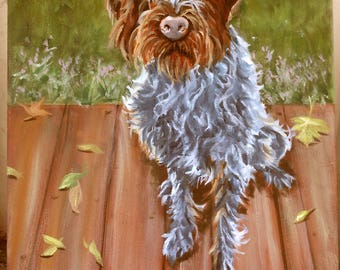 "Oil Painting Portrait of your dog, or any pet, Wire Haired Pointing Griffon, 11"" x 14"" size, Pet Portrait Custom, Portrait Painting Artist"