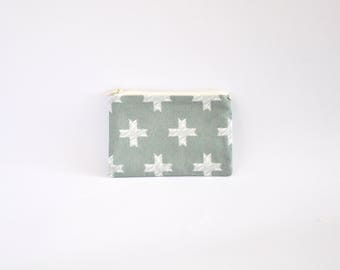 Small Coin Purse, Change Purse, Coin Pouch, Zipper Pouch, Makeup Pouch, Cosmetic Pouch, Card Pouch, Card Holder - Silver & White Crosses