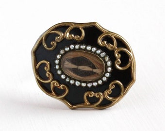 Sale - Victorian Mourning Brooch - Antique Gold Filled Black Enamel Seed Pearl Human Hair - Rare Remembrance Sentimental Pendant Jewelry