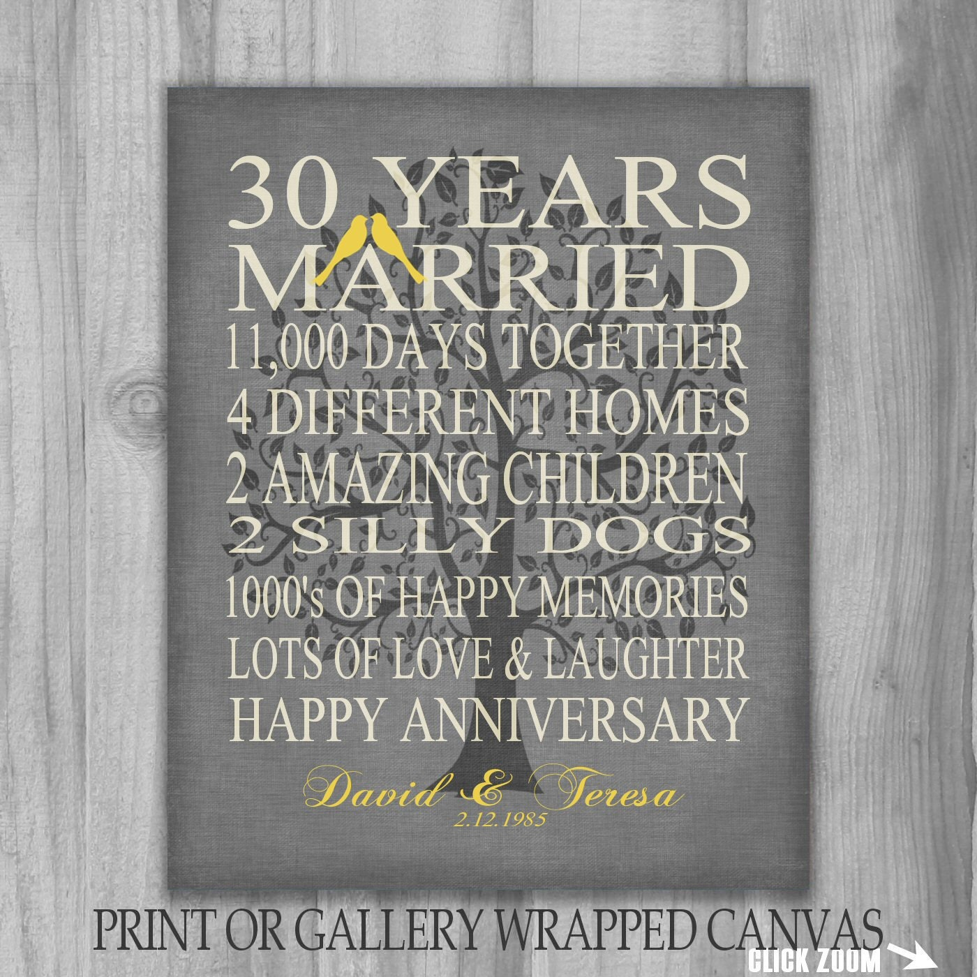 30 Year Anniversary Gift Personalized Years Canvas Or