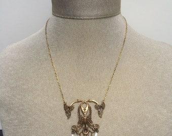 Vintage Redux - Beautiful Handmade Necklace with Vintage Turquoise Enamel Drop