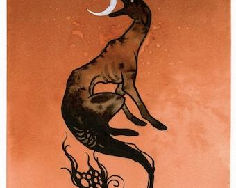 Moon Dog - ORIGINAL Ink and Watercolor