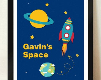 Digital Download Personalized Custom Space Planets Stars Kids Room Poster Name - 8x10 11x14