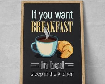 Breakfast Funny Quote Kitchen Poster, Kitchen decor, Kitchen wall art, Kitchen prints, Coffee prints, Kitchen, Coffee, Breakfast Quote Print