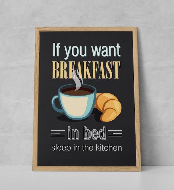 Frühstück lustig Zitat Küche Poster Küche Küche-Wand-Kunst