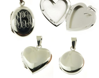 925 Sterling Silver or 14k Gold over 925 Sterling Silver Vermeil Round Oval or Heart Locket with Personalized Monogram