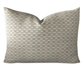 "Teal Navy Geometric Standard Sham Pillow Cover 27"" x 20"""