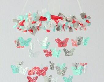 Coral Aqua Nursery Butterfly Mobile for Baby Girl Baby Boy Nursery Mobile Room Decor