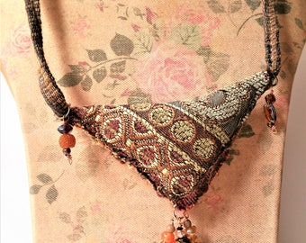 Textile Pendant Necklace - Contemporary Textile Jewellry - Wearable Fiber Art Jewlery for Women - Statement Necklace - Gift for Her