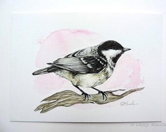 "Original Coal tit - Watercolour Bird Painting, British Song Bird, Original Bird Artwork, Bird Ink Illustration 5x7"" Bird Artwork"