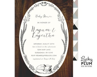 Woodland Baby Shower Invitation / Fox Baby Shower Invitation / Couples Baby Invitation /  Coed Baby Shower Invitation / Animal Forest