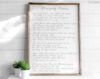 Amazing Grace Lyrics | FREE SHIPPING | Farmhouse Wood Sign | Shabby Chic Decor | Hymn Lyrics Sign | 47x35