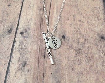 Flute initial necklace - flute jewelry, music instrument jewelry, flautist necklace, silver flute pendant, gift for musician, flute necklace