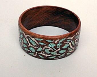 Wood Bracelet Bangle with Turquoise
