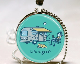 LIFE is GOOD Vintage Shasta Rv Silver Bullet AIRSTREAM Camper Trailer Altered Art Pendant Charm Necklace