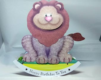 Lion 3D Wobbler Male/Female/Kids/Children's Birthday Card - luxury quality UK - Mum/Grandma/Daughter/Aunt/Niece/Sister/Wife