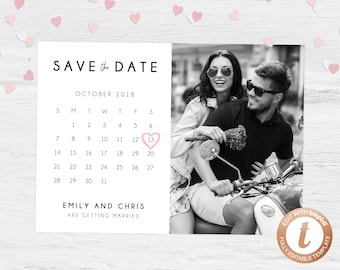 Save The Date Template Etsy - Save the date calendar template