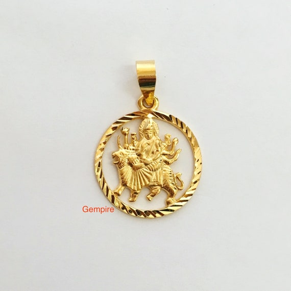 Goddess durga pendant 18 kt solid gold goddess prayer charm mozeypictures Image collections