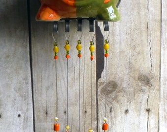 Spring Flying Pig Handmade Stained Glass Wind Chimes