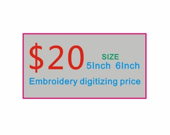 Custom Embroidery Digitizing 20.00 each one embroidery digitizing Service