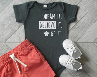 BELIEVE! Organic Baby Clothes, Baby Girl , Baby Boy, Unique Baby Shower Gift, Baby Onesie, Cute Baby Clothes, Infant Outfit, Baby One Piece